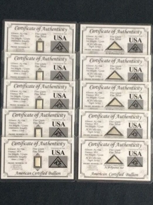 5x 5 99.9 pure silver bars, certified 5x 5grain pyramid 99.9 exclusive limited edition USA