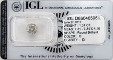 1.37 ct brilliant cut diamond  G  I3