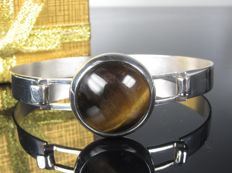 Silver bracelet / bangle with tiger's eye, 1960s