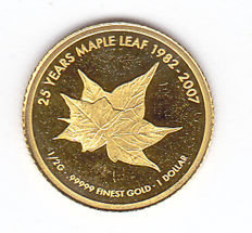 "Cook Islands - 1 Dollar 2007 ""25 Years Maple Leaf"" - gold"