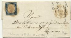 Italy - 1863 - 15 cents, dark blue, cancelled on letter from Villanuova di Mondovi to Turin