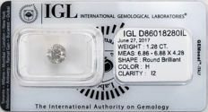 1.28 ct brilliant cut diamond  H  I2
