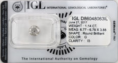 1.14 ct brilliant cut diamond  G  I3