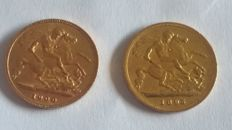 Great Britain – ½ Sovereign 1895 & 1900 (lot of 2 coins) – Victoria – Gold