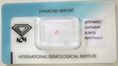 Natural Fancy Pink Diamond 0.09ct  with IGI cert *** no minimum price***