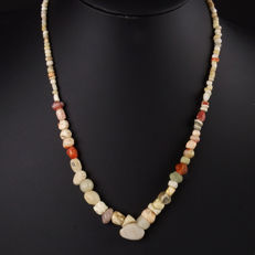 Necklace with ancient stone, faience, carnelian, shell and rock crystal beads - 52 cm