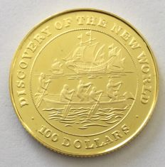 Bahamas – 100 Dollars 1991 'Discovery of the New World' – 6.5 g Gold