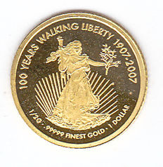 "Cook Islands – 1 dollar, 2007, ""100 Years Walking Liberty 1907-2007"" – gold"
