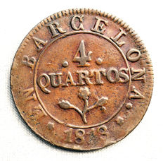 Spain – Jose Napoleon – 4 quartos copper coin – 1813 – Barcelona