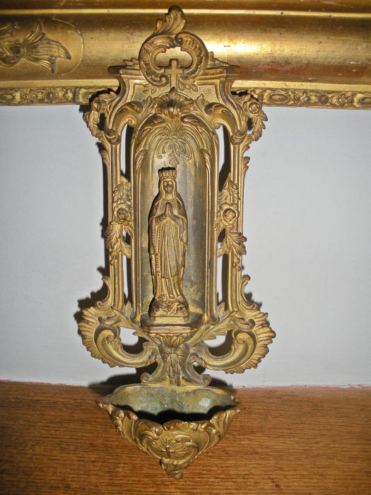 Beautiful Antique Century Furniture Dining Room Table And: Antique Stoup Depicting The Virgin Mary, A Beautiful 19th