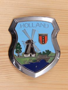 Vintage Chrome and Enamel Holland Amsterdam Car Badge Auto Emblem with original fittings
