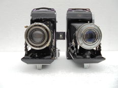 A lot of two bellows cameras: Zeiss Ikon Nettar 518/2 and Zeiss Ikon Ikonta 521/2 made in the '30s and '40s.