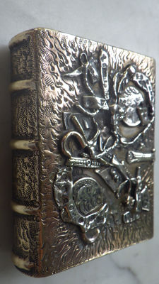 Silver on copper decoration - match holder - ca 1965