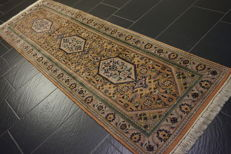 Luxurious hand-knotted oriental carpet, Indo Bidjar Herati runner, 80 x 250 cm, made in India, end of the 20th century