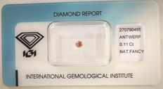 Natural Fancy Brownish Pink Diamond 0.11 ct  with IGI cert *** no minimum price***