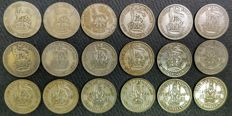United Kingdom - Shilling 1921/1946 George V and VI (18 pieces) - silver