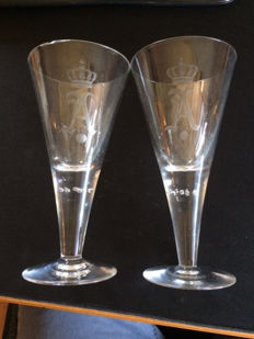 German Empire 1900 2 heavy polished wine glasses with monogram of artillery regiment