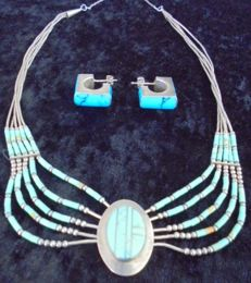 Native American  Navajo Silver Necklace and Earrings with Turquoise