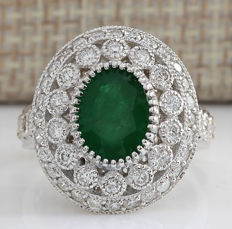 Certified 3.09 Carat Natural Emerald 14K Solid White Gold Diamond Ring *** Free shipping *** No Reserve *** Free Resizing ***