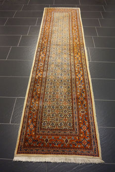 Royal hand-knotted Persian carpet Moud runner 78 x 290 cm made in Iran