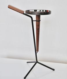 Designer unknown – wood and iron cigarette stand with mosaic tiles
