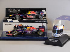 Minichamps - Scale 1/43-1/8 - Lot with 3 x Sebastian Vettel: 2 x model car & 1 x miniature helmet