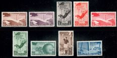 "Italian Colonies 1934, airmail stamps ""Football-WC"" complete as well as Italian Somaliland 1906 ""Elephants and Lion's Head"" complete MH, Michel no. 81-87 resp. Michel no. 10-17"