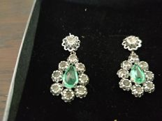 Earrings- Early Victorian period( 1837-1860) Emerald set approx..2.25ct surrounded by old European cut Diamonds.( 2.35 ct )