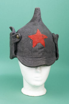 Distinct Russian Budenovka Cap with red star. Wool. Copper buttons.