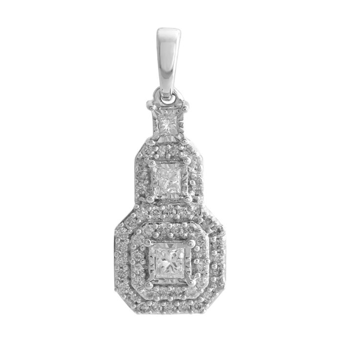 18Kt. white gold princess dangling (21 mm) designer fashion pendant set with diamonds 0.31ct (princess and round ), GH colour and  P1/P2 clarity  ***no reserve***