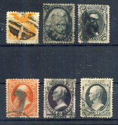 USA 1861/1881 - 6 early definitives,  Scott 73, 77, 116, 160, 162, 190