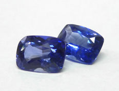 Pair of sapphires - Royal blue - 3.03 ct in total.