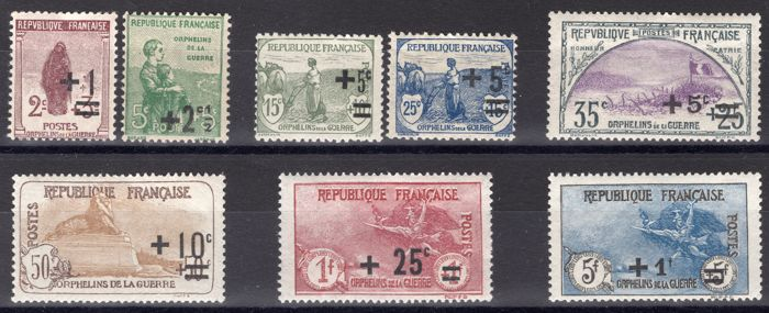 "France 1922 – Second series ""au Profit des Orphelins de Guerre"" (in aid of war orphans) – Yvert no. 162/169"