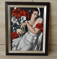 "Tamara de Lempicka for Goebel - Beautiful porcelain framed tile with the image called ""Portrait of Ira p.""-limited."