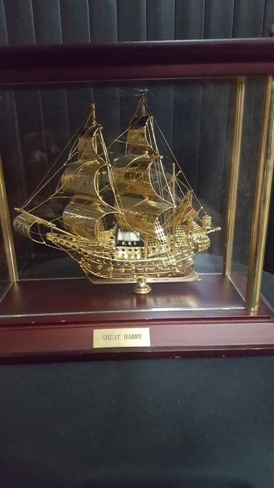 Great Harry Brass ship in acrylic Holder