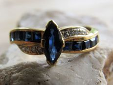14 kt Handmade gold ring with 11 natural sapphires and 10 diamonds NO RESERVE PRICE.