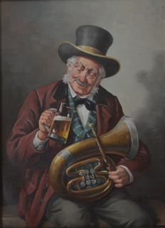 Unknown artist, signed: Richter - The Musician having a drink