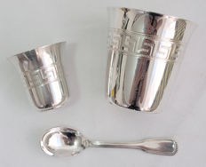 Presentation Drinking Cups With Keystone Pattern, French Silver Plate Early 20th Century