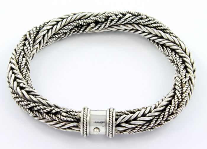 Thick 925 silver handmade bracelet composed of four intertwined chains - 26 cm