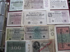 Original lot of 61 banknotes, banknotes from the interwar period World War I and II with extreme millions and billions values, various old banknotes & 48 pictures from the German Reich