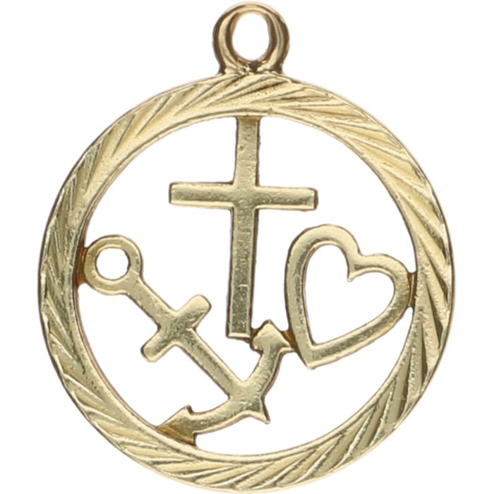 14 kt Yellow gold pendant in a round shape, with the symbols for faith, hope and love – Length: 2 cm