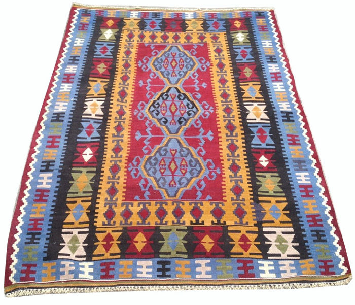 UNIQUE Hand Woven FINE QUALITY Turkish Kilim Carpet Area Rug 161 cm x 110 cm