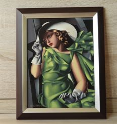 "Tamara de Lempicka for Goebel - Beautiful porcelain framed tile with the image called ""Portrait of Young girl in green""""-limited."