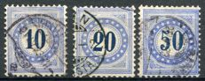 Switzerland 1882 - Selection of Postage Dues, Inverted Frame - Michel 10K, 11K, 12K