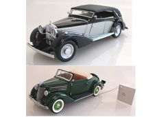 Franklin Mint - Scale 1/24 - Maybach Zeppelin 1939 & Ford Deluxe Convertible 1936 with Certificate