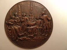 Beautiful copper plate of a maritime event