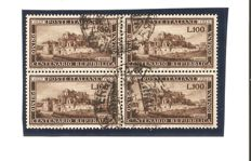 Italian Republic 1949 – block of 4 'Repubblica Romana' – Sassone No. 600