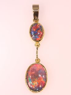 Vintage gold pendant with two opals - anno 1970