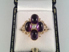 Large yellow gold ring with amethyst and diamond