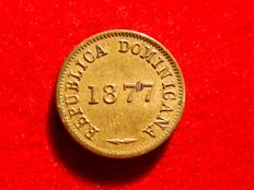 Dominican Republic – 1 copper cent, 1877. Kr 3. Scarce.